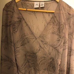Armani/ex top size large low sheer wing sleeve